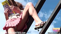 Farmer's daughter Lilia flashing her little panties