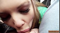 Blonde teen hitchhiker Alessandra Jane pounded by nasty dude