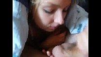 Pretty girlfriend swallows under the blanket