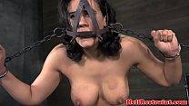 Nipple clamped fetish sub tit spanked