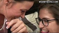 Teen babe April Oneil and cougar Vanilla Deville pounded