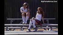 Redhead schoolgirl fucked on a bench outdoors