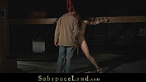 Brunette slave streched in ropes and meanly spanked