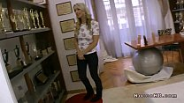 Hot blonde gags on huge dick and pussy fucked o...