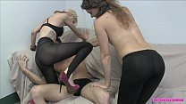 Hot Lesbians Break His Balls For Fun Part 2