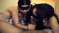 Two masked women suck and wank my cock