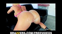 HOT blonde with a perfect ass is oiled up for r...