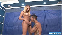 Sexy ts Rakel Rodrigues gets dick sucked and anal fucks a guy