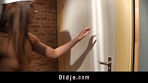 Young cleaning lady ass fucked in the men's res...