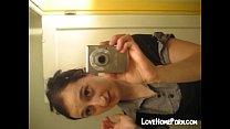 Teen self shot in front of mirror