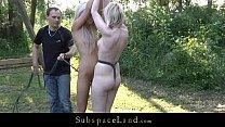 Fresh blonde teens restrained for outdoor bondage punish
