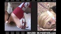 Sexy schoolgirl Sasha bound tight with white rope