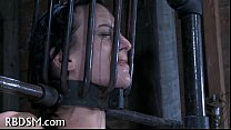 Caged up babe gets gratifying