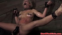 Blonde nipple clamped bdsm sub punished