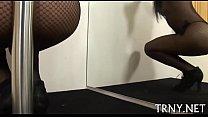 Teen tranny uses her soaked wazoo