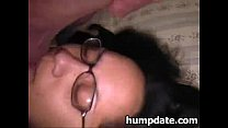 Latin wife gets her face covered with jizz