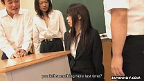 Cute Asian teacher waxed and creamed in a group