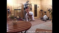 Fucking a Blonde in Home Gym after Workout