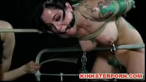 image Lezdom queen punishing leashed f slave