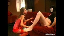 Lady in red having fun blowjobs and swallowing ...
