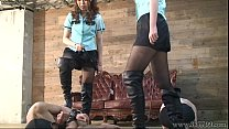 Foot worship, Two Japanese Mistress whipped the three masochist
