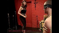 Tied up guy gets femdom cbt and whipping and st...