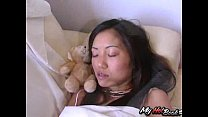 While the pretty Asian, Kaiya Lynn is laying on t
