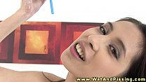 Pee fetish babe drenched in urine