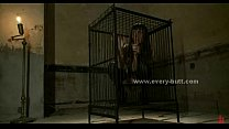 Brunette sex slave in cage abducted and punishe...