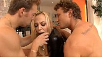 Annette Schwarz in leather double penetrated