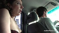 Exhib milf masturbating in the taxi before gett...