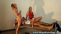 Bi blonde threesome orgy cumshot