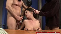 Bigtit submissive facialized in foursome