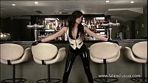 Latex fetish of sexy barmaid Anastasia in high heels and rubber bodystockings