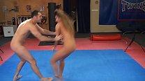 Cathy Heaven vs. James - nude erotic mixed wrestling w blowjob