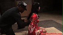 Bound asian submissive dominated with toy