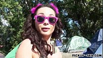 Amateur Czech girl Aurelly Rebel fucked outdoors for cash