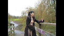 Goth Babe in Furry Coat Pisses Outdoors 1