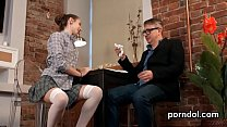 Lovesome bookworm gets seduced and screwed by her elderly schoolteacher