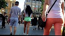 Hot Girl with booty shorts walking on the street
