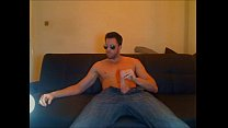 Guy with big dick and sunglasses jerking off