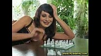 Beauty chess player tastes cum