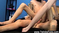 Gay clip of Kyler is all trussed up on the bed and Roxy takes