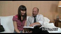 Threesome lesson with elderly teacher