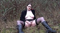Amateur flasher Alyss outdoors and chubby exhibitionist madster going nude in pu