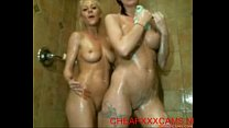 2 sexy girls take shower and wash each other