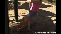 Kitty flashing her panty all over the playground