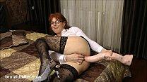 Mature secretary prolapses from big brutal anal dildo
