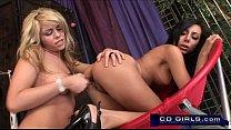 Marlie Moore helps Lela Star take to orgasmatron sex machine from behind