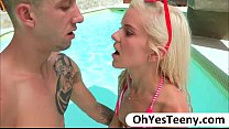 Skinny teen Halle gets fucked by a big cock and...